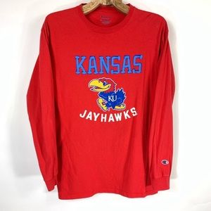 KU Jayhawks Red Long Sleeve T Shirt Medium